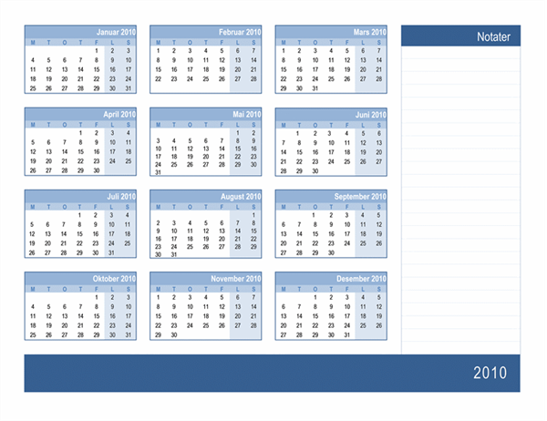 2010-kalender med plass til notater (1 side, mandag til søndag)