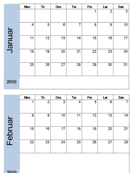 2010-kalender med blå kantlinje (6 sider, mandag til søndag)