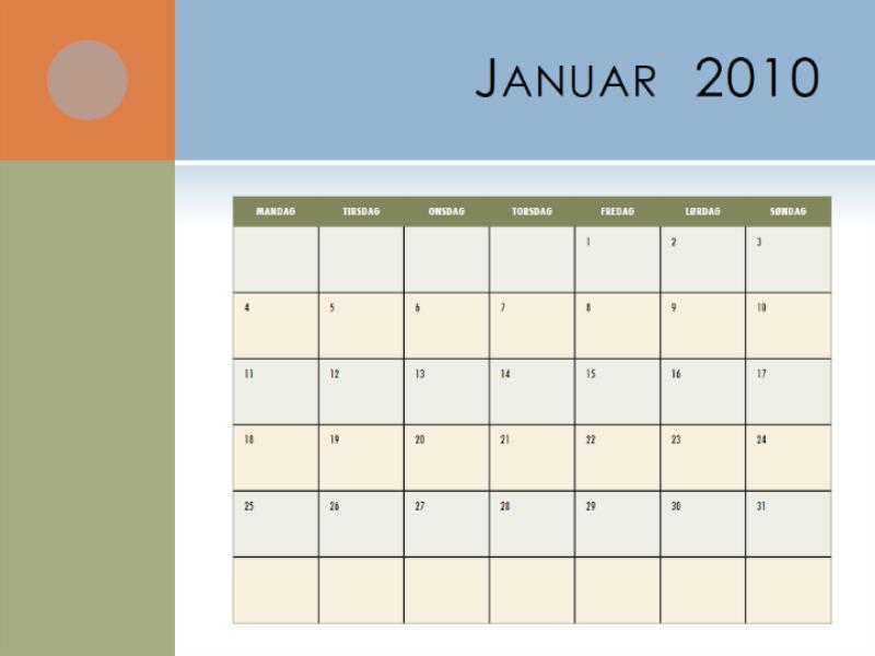 2010-kalender (mandag til søndag)