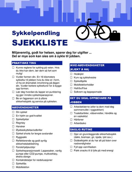 Sjekkliste for sykkelpendling