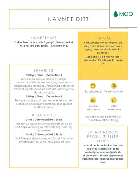 Skarp og klar CV, utformet av MOO