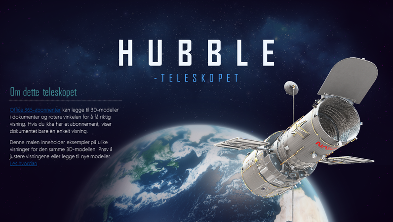 3D PowerPoint-presentasjon (Hubble Telescope-modellen)