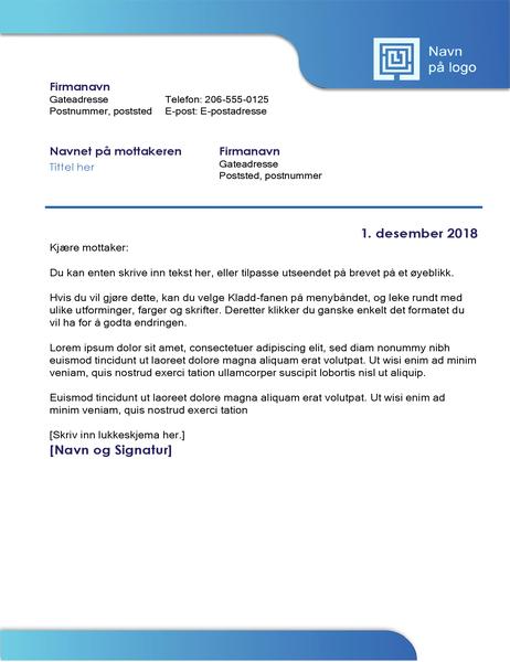 Forretningsbrev (blå kantlinje og  fargegradering)