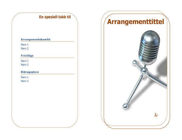Arrangementsprogram (foldet i to)