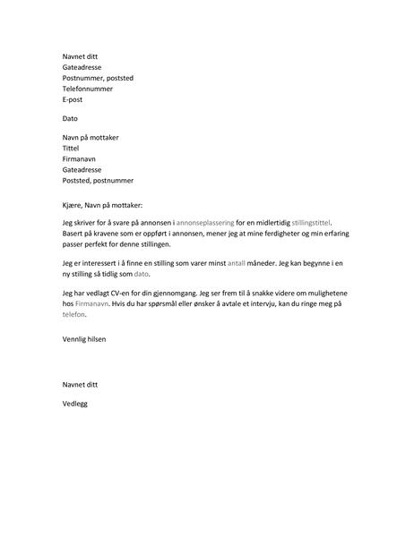 Følgebrev til CV for midlertidig stilling