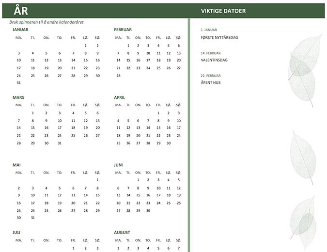 Kalender for bedrifter (alle år, søn–lør)