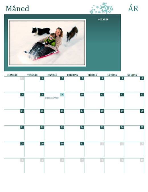 Sesongbetont familiekalender (alle år, man–søn)