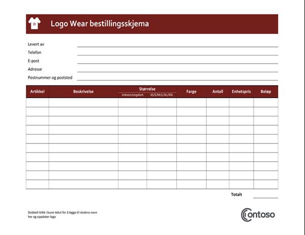Logowear bestillingsskjema