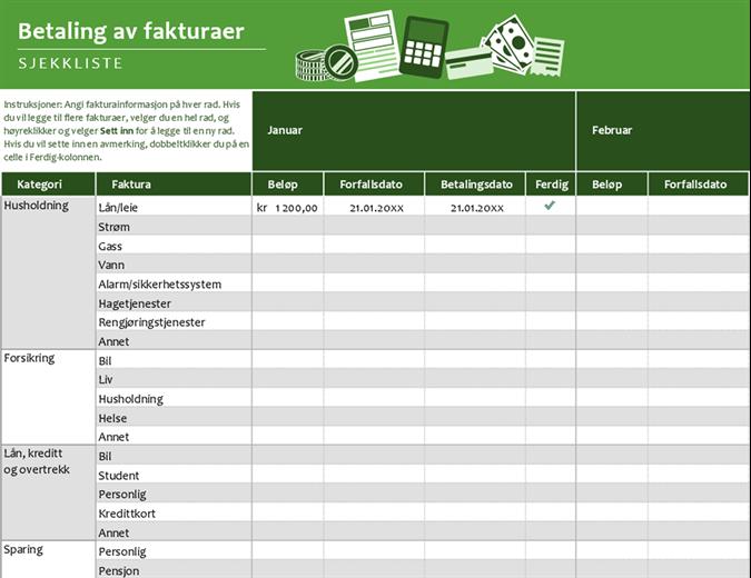 Sjekkliste for betaling av fakturaer
