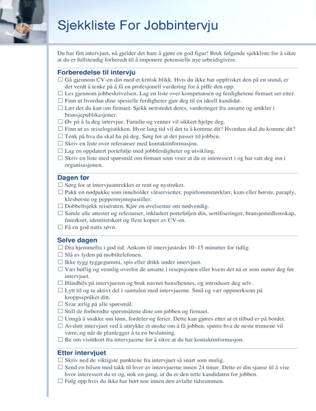 Sjekkliste for jobbintervju