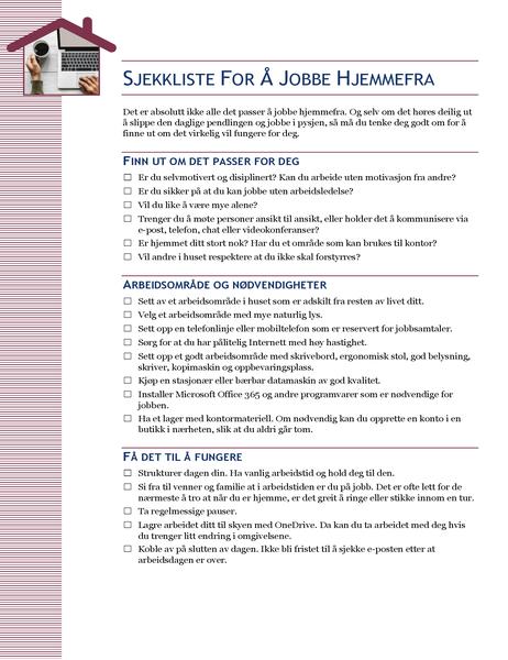 Sjekkliste for å jobbe hjemmefra
