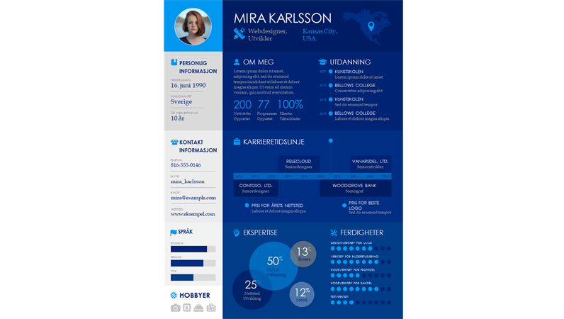 Informasjonsgrafikk-CV med tidslinje