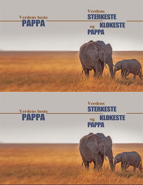 Klok elefant farsdagskort