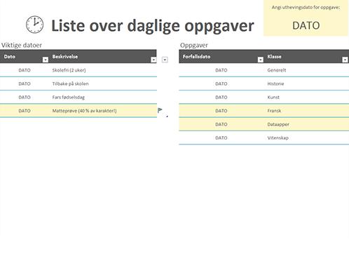 Liste over daglige oppgaver