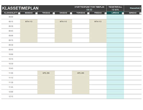 Timeplan for elev