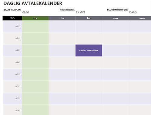 Daglig avtalekalender