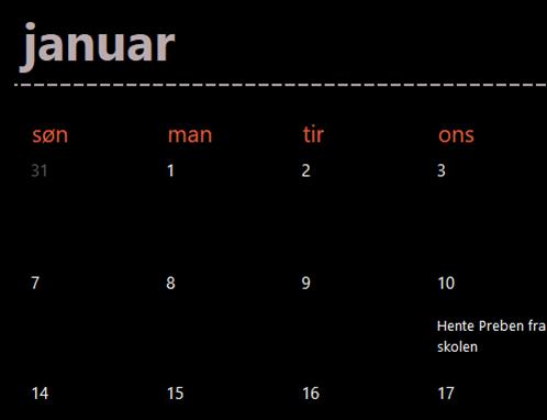 Eviggrønne kalenderfaner (svart)
