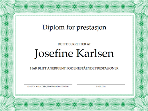 Diplom for prestasjon (grønn)