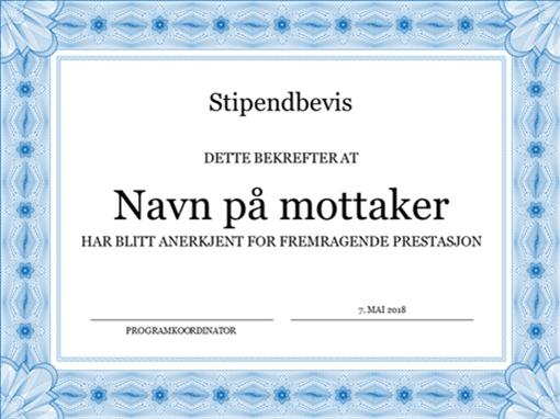 Stipendbevis (formell, blå kantlinje)