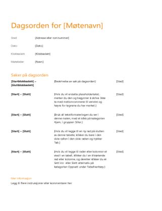 Dagsorden for bedriftsmøte (orangsje design)