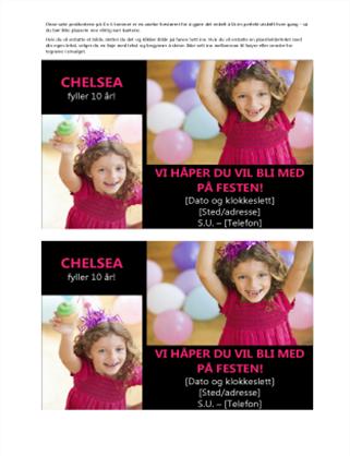 Postkort med invitasjon til bursdagsselskap