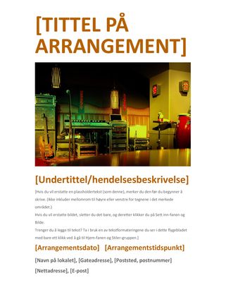 Flygeblad for arrangement (oransje)
