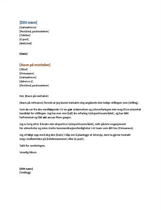 Funksjonelt følgebrev til CV (kan brukes med funksjonell CV)