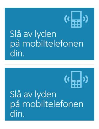 Plakat med påminnelse om å slå av mobiltelefonen (blå)