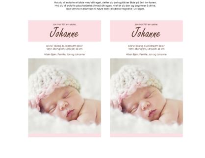 Fødselskunngjøring for jentebarn