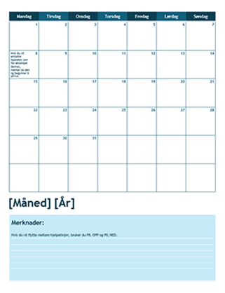 Akademisk kalender for én måned (starter med mandag)