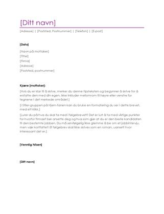 Følgebrev til CV (fiolett)