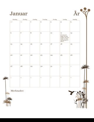 12-måneders kalender (mandag–søndag)