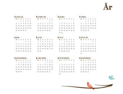 Årskalender for 2018 (ma.–sø.)