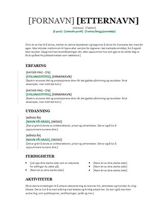 Kronologisk CV (moderne utforming)