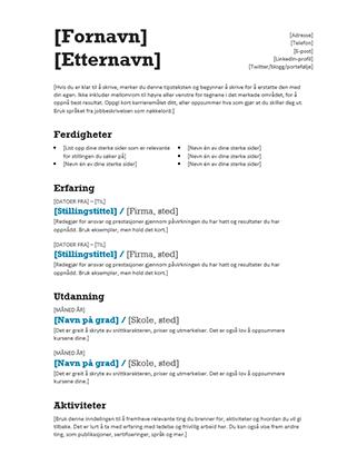 Balansert CV (moderne utforming)