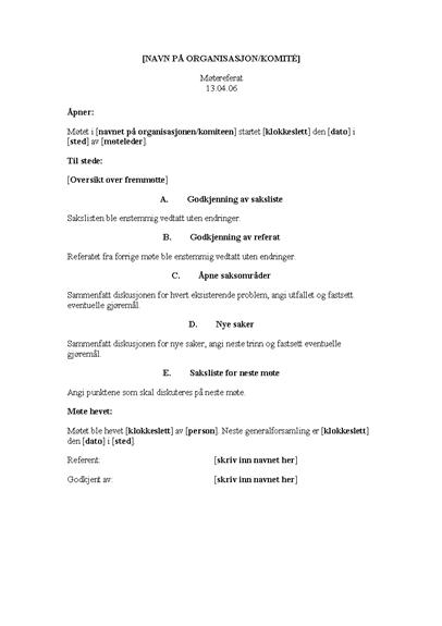 Referat fra organisasjonsmøte (lang versjon)