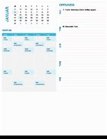 Studentkalender for ukeplanlegging (hvilket som helst år, mandag til søndag)