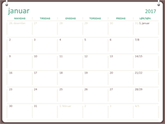 Kalender for 2017 (man-søn, to-ringssystem)