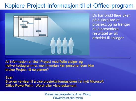 Opplæringspresentasjon: Project 2007 – Presenter prosjektene dine i Word, PowerPoint eller Visio