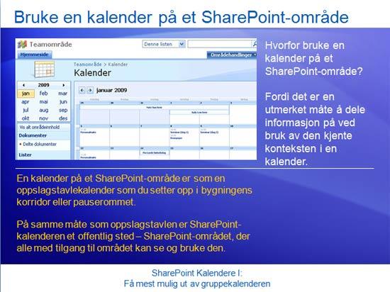 Opplæringspresentasjon: SharePoint Server 2007 – Kalendere I: Få mest mulig ut av gruppekalenderen