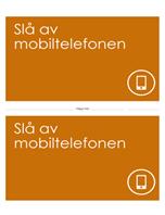 Plakat med påminnelse om å slå av mobiltelefonen (oransje)