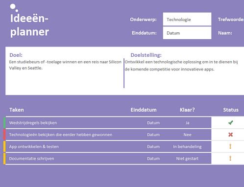 Planificateur d'idées (tâches)