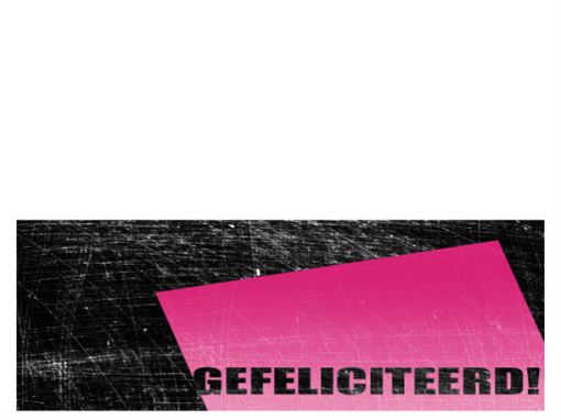 Verjaardagskaart, bekraste achtergrond (roze, zwart, in tweeën gevouwen)