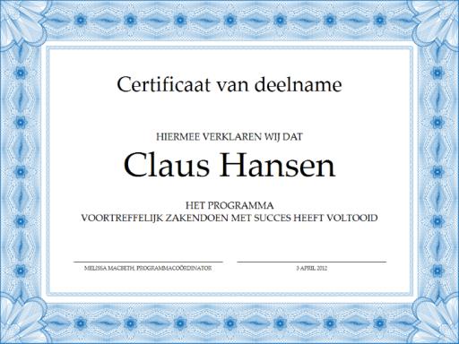 Certificaat van deelname (blauw)