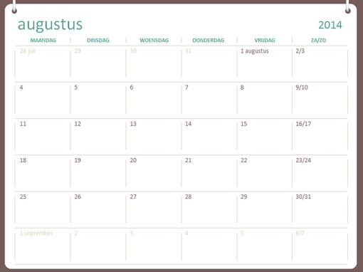 Onderwijskalender 2014-2015 (augustus t/m juli)