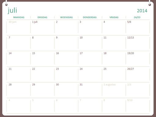 Onderwijskalender 2014-2015 (juli t/m juni)