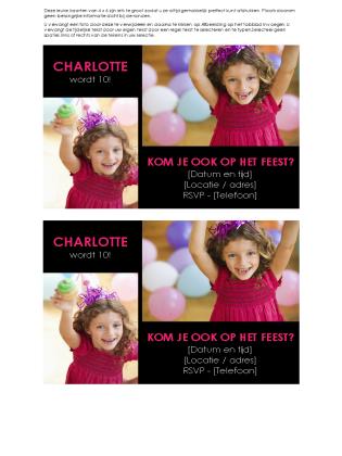 Uitnodiging voor verjaardagsfeest