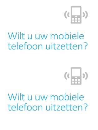 Poster met waarschuwing om mobiele telefoon uit te zetten