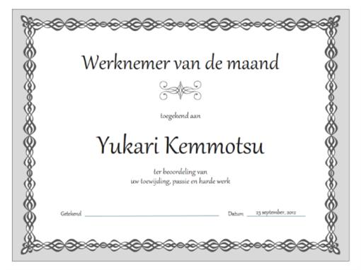 Certificaat, werknemer van de maand (ontwerp met grijze ketting)