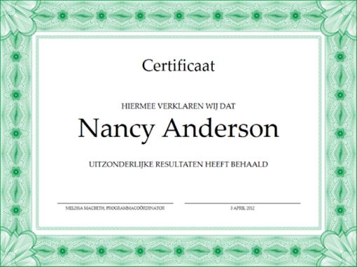Certificaat (groen)